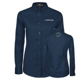 Ladies Navy Twill Button Down Long Sleeve-Livestrong Wordmark