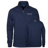 Navy Slub Fleece 1/4 Zip Pullover-Livestrong Wordmark