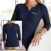 Ladies V Notch Navy 3/4 Sleeve Shirt-Livestrong Wordmark