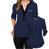 Ladies Posh Navy 3/4 Sleeve Blouse-Livestrong Wordmark