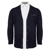 Navy V Neck Cardigan w/Pockets-Wordmark