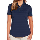 Ladies Callaway Horizontal Textured Navy Polo-Livestrong Wordmark