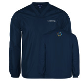 V Neck Navy Raglan Windshirt-Livestrong Wordmark