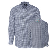 Cutter & Buck Navy Stretch Gingham Long Sleeve Shirt-Livestrong Wordmark