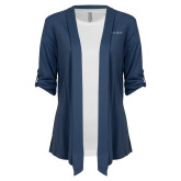 Ladies Navy Drape Front Cardigan-Wordmark