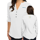 Ladies Glam White 3/4 Sleeve Blouse-Livestrong Wordmark