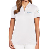 Ladies Callaway Tulip Sleeve White Zip Polo-Livestrong Wordmark