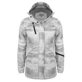 Ladies White Brushstroke Print Insulated Jacket-Wordmark