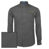 Mens Dark Charcoal Crosshatch Poplin Long Sleeve Shirt-Wordmark