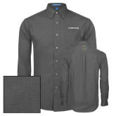 Mens Dark Charcoal Crosshatch Poplin Long Sleeve Shirt-Livestrong Wordmark