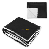 Super Soft Luxurious Black Sherpa Throw Blanket-Wordmark