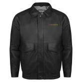 Black Leather Bomber Jacket-LIVESTRONG