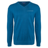 Classic Mens V Neck Moroccan Blue Sweater-Wordmark