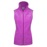 Columbia Ladies Full Zip Lilac Fleece Vest-Wordmark