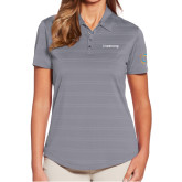 Ladies Callaway Horizontal Textured Steel Grey Polo-Livestrong Wordmark