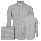 Mens Charcoal Plaid Pattern Long Sleeve Shirt-Livestrong Wordmark
