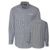 Cutter & Buck Charcoal Stretch Gingham Long Sleeve Shirt-Livestrong Wordmark