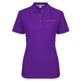 Ladies Easycare Purple Pique Polo-LIVESTRONG