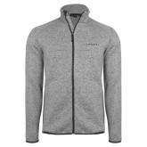 Grey Heather Fleece Jacket-Wordmark