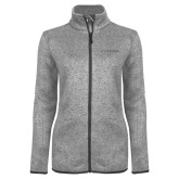Grey Heather Ladies Fleece Jacket-Wordmark