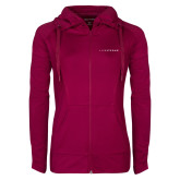 Ladies Sport Wick Stretch Full Zip Deep Berry Jacket-Wordmark