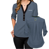 Ladies Posh Slate 3/4 Sleeve Blouse-Livestrong Wordmark