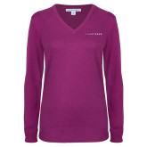 Ladies Deep Berry V Neck Sweater-Wordmark