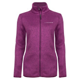 Dark Pink Heather Ladies Fleece Jacket-Wordmark