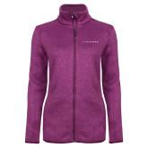 Dark Pink Heather Ladies Fleece Jacket-LIVESTRONG