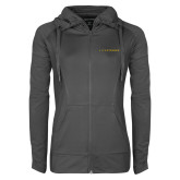 Ladies Sport Wick Stretch Full Zip Charcoal Jacket-Wordmark