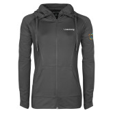 Ladies Sport Wick Stretch Full Zip Charcoal Jacket-Livestrong Wordmark