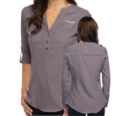 Ladies Glam Pewter 3/4 Sleeve Blouse-Livestrong Wordmark