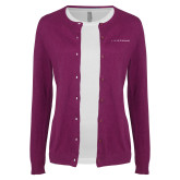 Ladies Deep Berry Cardigan-LIVESTRONG