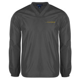V Neck Charcoal Raglan Windshirt-Wordmark
