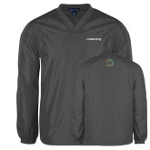 V Neck Charcoal Raglan Windshirt-Livestrong Wordmark