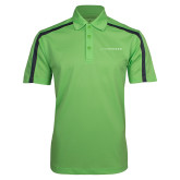 Lime Green Performance Colorblock Stripe Polo-LIVESTRONG