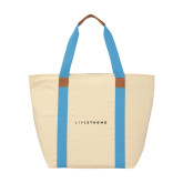 Natural/Light Blue Saratoga Tote-LIVESTRONG
