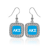 Crystal Studded Square Pendant Silver Dangle Earrings-Greek Letters