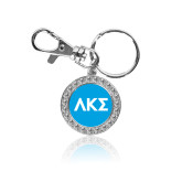 Crystal Studded Round Key Chain-Greek Letters