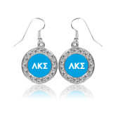 Crystal Studded Round Pendant Silver Dangle Earrings-Greek Letters