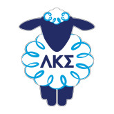 Medium Decal-Lamb w Greek Letters, 7 inches wide