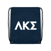 Navy Drawstring Backpack-Greek Letters