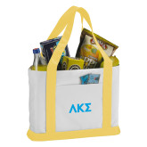 Contender White/Gold Canvas Tote-Greek Letters