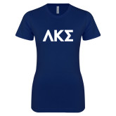Next Level Ladies SoftStyle Junior Fitted Navy Tee-Greek Letters