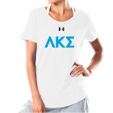 Ladies Under Armour White Charged Cotton Tee-Greek Letters