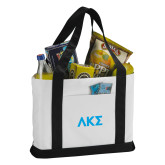 Contender White/Black Canvas Tote-Greek Letters