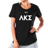 Ladies Under Armour Black Charged Cotton Tee-Greek Letters