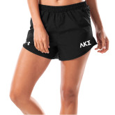 Ladies Under Armour Fly By Black Shorts-Greek Letters