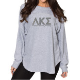 Ladies Grey Sherpa Slouch Jersey-A Silver Soft Glitter