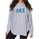 Ladies Grey Sherpa Slouch Jersey-G Turquoise Glitter